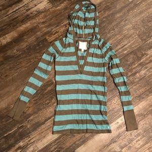 Army Green & Teal Stripe Hooded Long Sleeve